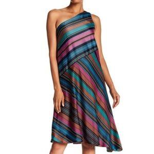 Maggy London satin stripe asymmetric dress cascade